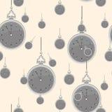 Modelo inconsútil del vintage con los relojes Vector ilustración del vector