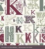 Modelo inconsútil del vintage de la letra K en colores retros stock de ilustración