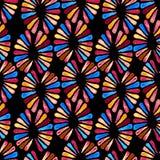 Modelo inconsútil del watercolour con las 3 flores retras de los colores en negro Fotos de archivo