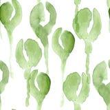 Modelo inconsútil del Watercolour con los brotes verdes de la amapola Imagen de archivo libre de regalías