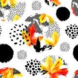 Modelo inconsútil del watercolour de las hojas de otoño Dé la hoja de arce exhausta, garabato, grunge, texturas del garabato en c Foto de archivo