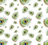 Modelo inconsútil del watercolour del pavo real Imagen de archivo libre de regalías