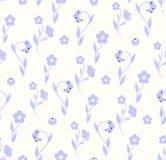 Modelo inconsútil delicado del azul del naturall de la flora del modelo Foto de archivo libre de regalías