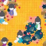 Modelo inconsútil diagonal del grupo de círculo del conejo de la muñeca de Japón ilustración del vector