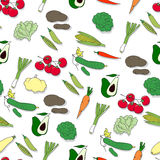 Modelo inconsútil dibujado mano con las verduras Imagen de archivo