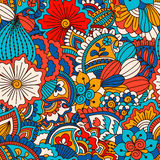 Modelo inconsútil dibujado mano con los elementos florales stock de ilustración