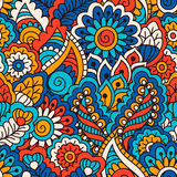 Modelo inconsútil dibujado mano con los elementos florales Origen étnico colorido Fotografía de archivo
