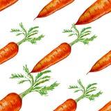 Modelo inconsútil dibujado mano de la acuarela con la zanahoria Foto de archivo