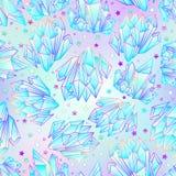 Modelo inconsútil dibujado mano de la gema cristalina Gemston brillante geométrico ilustración del vector