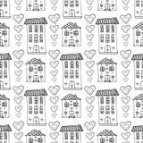 Modelo inconsútil dibujado mano de las casas lindas Fondo del garabato del vector con el edificio y los corazones Embalaje, papel Fotografía de archivo libre de regalías