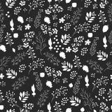 Modelo inconsútil dibujado mano de las flores y de las plantas Imagen de archivo libre de regalías