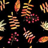 Modelo inconsútil dibujado mano de las hojas de otoño de la acuarela stock de ilustración