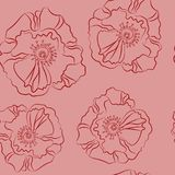 Modelo inconsútil dibujado mano de lino del vector de la flor del garabato B simple Imagen de archivo