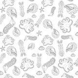 Modelo inconsútil dibujado mano de los cefalópodos Fotografía de archivo libre de regalías