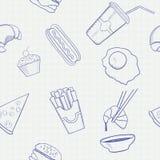 Modelo inconsútil dibujado mano del vector de la comida y de la bebida Imagen de archivo