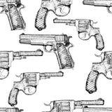 Modelo inconsútil dibujado mano del vector pistolas Fotos de archivo