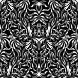 Modelo inconsútil dibujado mano floral blanca negra del vintage Vector p Foto de archivo libre de regalías