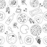 Modelo inconsútil dibujado mano italiana de la comida Imágenes de archivo libres de regalías