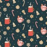 Modelo inconsútil dibujado mano linda con cacao, la melcocha y las galletas de la Navidad stock de ilustración