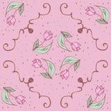 Modelo inconsútil dibujado mano rosada de los tulipanes del vector Foto de archivo libre de regalías