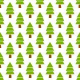 Modelo inconsútil dibujado mano simple del bosque del árbol de pino de la Navidad del vector Foto de archivo libre de regalías