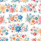 Modelo inconsútil ditsy bordado con diversas flores hermosas en el fondo blanco Impresión colorida con bordado de flores stock de ilustración
