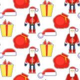 Modelo inconsútil divertido con Papá Noel rojo, sombrero, regalo, bolso Vec Fotografía de archivo