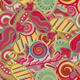 Modelo inconsútil dulce colorido delicioso del bastón de caramelo de la piruleta Ilustración del vector Fondo de los días de fies Imagen de archivo