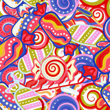 Modelo inconsútil dulce colorido delicioso del bastón de caramelo de la piruleta Ilustración del vector Fondo de los días de fies Fotografía de archivo libre de regalías