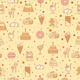 Modelo inconsútil dulce con las magdalenas, el caramelo, la piruleta y otras comidas de la panadería Ilustración del vector Fotografía de archivo