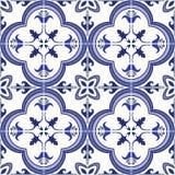 Modelo inconsútil El portugués adornado tradicional teja azulejos Ilustración del vector stock de ilustración