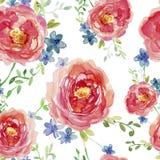 Modelo inconsútil elegante con las flores color de rosa decorativas dibujadas mano, elementos del diseño Estampado de flores para Imágenes de archivo libres de regalías