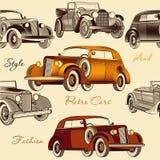 Modelo inconsútil elegante del papel pintado con los coches retros Imagen de archivo libre de regalías