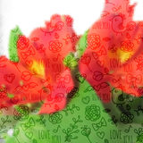 Modelo inconsútil en el fondo Blurred con la orquídea Libre Illustration