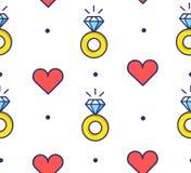 Modelo inconsútil en lunar con los anillos de compromiso y los corazones Línea fina diseño plano Fondo del vector Fotos de archivo libres de regalías