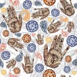 Modelo inconsútil en tema indio, pepino turco de la acuarela en colores rojos y anaranjados con las manos humanas, palmas con un  ilustración del vector