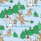 Modelo inconsútil en un tema de la Navidad con el muñeco de nieve y los gatos Foto de archivo libre de regalías