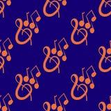 Modelo inconsútil en un tema musical con la llave y las notas del violín dibujadas a mano Foto de archivo libre de regalías