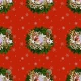 Modelo inconsútil en una Navidad theme-3 foto de archivo libre de regalías