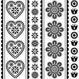 Modelo inconsútil escandinavo del vector del arte popular con las flores y los corazones, diseño nórdico blanco y negro del ornam imagen de archivo libre de regalías