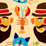 Modelo inconsútil Escarabajo, cangrejos, gato y hombre de la historieta con el bigote Ilustración del vector Imagen de archivo