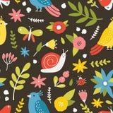 Modelo inconsútil estacional con las flores, los pájaros, el caracol, las mariposas y las mariquitas florecientes del prado en fo libre illustration