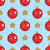 Modelo inconsútil Estrellas de la Navidad y chuchería roja fotografía de archivo libre de regalías