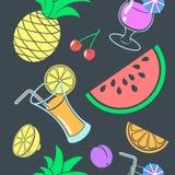 Modelo inconsútil exótico de bebidas y de frutas Foto de archivo libre de regalías