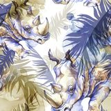 Modelo inconsútil exótico de la acuarela Rinoceronte con las hojas tropicales coloridas Fondo africano de los animales Arte de la stock de ilustración