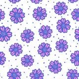 Modelo inconsútil exhausto de la mano azul linda de la flor del extracto del vector aislado en blanco imágenes de archivo libres de regalías