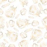 Modelo incons?til exhausto de la mano con jewerly y elementos florales stock de ilustración