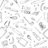 Modelo inconsútil exhausto de la mano con los utensilios de la cocina stock de ilustración