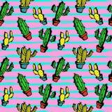 Modelo inconsútil exhausto de la mano del cactus con colores verdes de la mano linda, amarillos, y femeninos coloridos exhaustos libre illustration