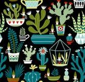 Modelo inconsútil exhausto del vector de la mano con gnomos lindos, cactus y succulents en fondo negro stock de ilustración